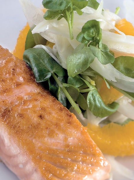 Fish - grilled ocean trout with fennel, tangelo and watercress